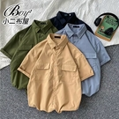 短襯衫 韓版工業風大尺碼工裝短袖襯衫【NLJDYN-3018】
