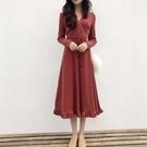 長袖洋裝 chic春季裙新款女韓版顯瘦V...
