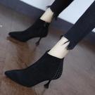 裸靴 時尚尖頭鉚釘短筒靴2020秋冬百搭細跟高跟馬丁靴女新款氣質小短靴 降價兩天