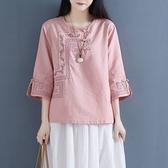 棉麻上衣 短袖棉麻上衣女2021夏季新款寬松大碼民族風女裝刺繡亞麻盤扣T恤