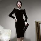 歐媛韓版 長袖洋裝 法式絲絨連身裙冬季新款復古蕾絲立領修身氣質包臀赫本小黑裙