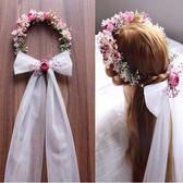 韓式森系新娘頭飾花環頭紗結婚髮飾影樓攝影拍照道具婚紗禮服配飾    居家物語