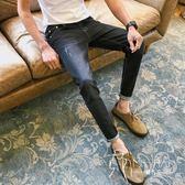 秋季新款彈力九分牛仔褲男士修身破洞9分黑色休閑褲子男韓版潮流