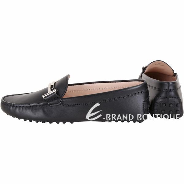 TOD'S Double T 金屬設計休閒豆豆鞋(女鞋/黑色) 1840683-01