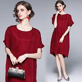 中大尺碼洋裝連身裙~闊太太寬松蝙蝠衫銅氨絲貴婦連身裙 522#H405A莎菲娜