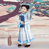 兒童書童表演服裝男童古裝漢服演出服幼兒女童國學古裝書童三字經 薔薇時尚