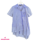 【SHOWCASE】條紋斜開襟造型不規則襬拼接襯衫(藍)