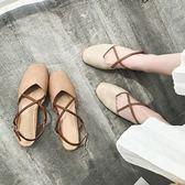 粗跟涼鞋女韓百搭尖頭包頭一字扣蝴蝶結高跟鞋包跟鞋子 名購居家