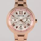 【萬年鐘錶】星辰 CITIZEN Wicca 三眼時尚設計女腕錶  銀白x玫瑰金   34mm BH7-521-21