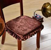 雙十二返場促銷加厚實木歐式餐椅墊 冬季中式家用飯店餐桌防滑毛絨四季凳子坐墊