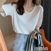 短袖T恤圓領寬鬆竹節棉麻女夏季新款雞蛋領V領打底衫純色 花樣年華