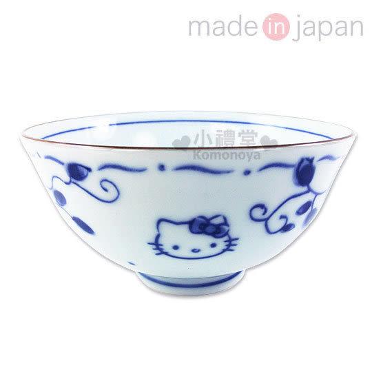 〔小禮堂〕Hello Kitty 日製陶瓷碗《白.藍玫瑰.大臉》精緻美濃燒.新生活系列 4964412-30731