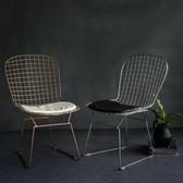 鐵絲網鏤空椅洽談椅鐵藝簡約餐椅工業風金屬辦公椅電腦椅YXS 韓小姐的衣櫥