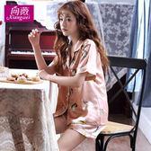 正韓睡衣女夏短袖冰絲少女甜美絲質薄款兩件套開衫大碼家居服套裝【七夕節八折】