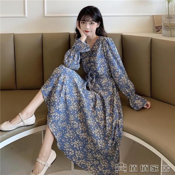 長袖洋裝 碎花洋裝春秋季新款氣質設計感中長款長袖收腰顯瘦女裝裙子 交換禮物