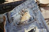 夏季男士牛仔短褲破洞休閒潮男裝時尚中褲修身夏天牛仔褲