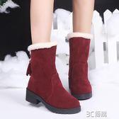 秋冬保暖靴女學生短靴秋季絨面圓頭套筒短筒雪地靴內里加絨靴 3c優購