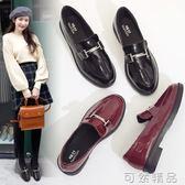 小皮鞋女英倫風春季新款韓版百搭一腳蹬平底黑色厚底學院單鞋   可然精品鞋櫃