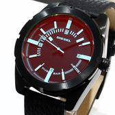 【萬年鐘錶】DIESEL 簡單 隨角度變化偏色鏡面  黑錶殼  黑色皮帶  大錶徑 45mm DZ1632