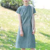 旗袍 復古民國風改良中式盤扣洋裝女夏學生條紋開叉棉麻旗袍裙 俏女孩