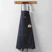 牛仔皮做飯圍裙女家用可愛圍裙廚房防水防油成人背心罩衣 【快速出貨】