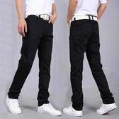 秋冬季純黑色牛仔褲男士彈力青年休閒修身直筒長褲子寬鬆厚款 雙十二全館免運