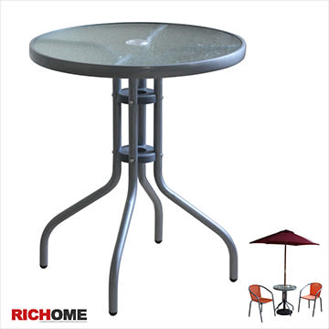 【RICHOME】TA276《奧利爾玻璃圓桌》聚餐桌    野餐桌   庭園桌   方桌