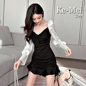 克妹Ke-Mei【AT65938】冷傲系女友 假二件併接雪紡袖魚尾連身洋裝