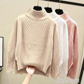 秋冬季2019新款半高領打底針織衫女套頭寬鬆內搭加厚開叉短款毛衣