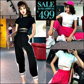 克妹Ke-Mei【ZT46224】歐美時尚水鑽字母摟空T恤+光感束口運動褲套裝