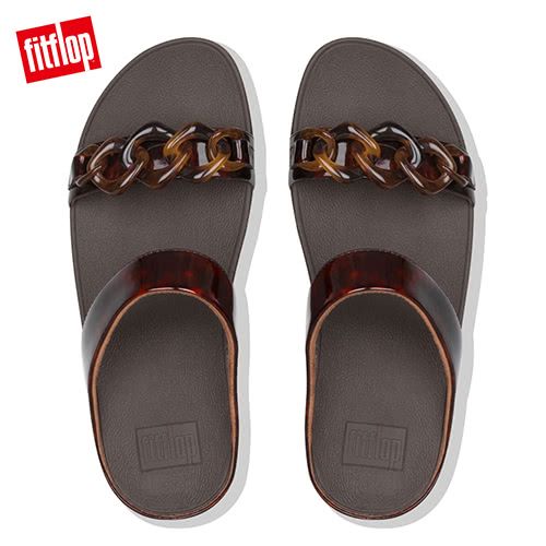 熱銷推薦7折  【FitFlop】FINO TORTOISESHELL-CHAIN SLIDES玳瑁紋鎖鏈涼鞋-女(巧克力棕/玳帽紋)