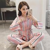 日系和服睡衣春夏長袖套裝V領系繩和服棉質甜美兩件套外穿家居服