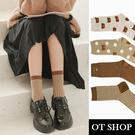 OT SHOP [現貨] 襪子 中筒襪 運動襪 女款 棉質 大地色系 刺繡小熊 千鳥格 文青 奶茶/杏/咖啡色 M1155