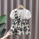 女童洋裝 女童夏裝連身裙2021新款網紅兒童裝洋氣斜肩裙子女寶寶夏季公主裙