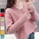 【QV3215】魔衣子-純色V領側開叉長袖針織毛衣上衣