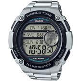 CASIO 世界地圖液晶螢幕數位鋼帶腕錶(AE-3000WD-1A)