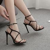 新款歐美性感交叉一字帶超高跟涼鞋女 夜店舞臺表演高跟鞋