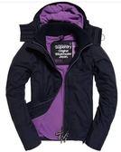 Superdry 極度乾燥 女款 連帽風衣外套 灰配紫