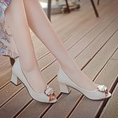 中跟單鞋女魚口女鞋子粗跟方扣職業工作涼鞋低跟百搭韓版 糖果時尚