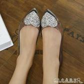 夏季水鞋女 平底果凍鞋 透明雨水輕便淺口防水低筒塑料膠鞋『』