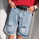 FINDSENSE H1夏季 日本 新款 磨邊 破洞 水洗做舊 牛仔短褲 五分短