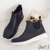 Ann'S雨天時尚-運動風防水雨靴-黑