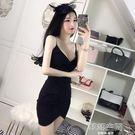 性感夜店女裝v領低胸吊帶裙修身顯瘦棉麻包臀洋裝 韓語空間