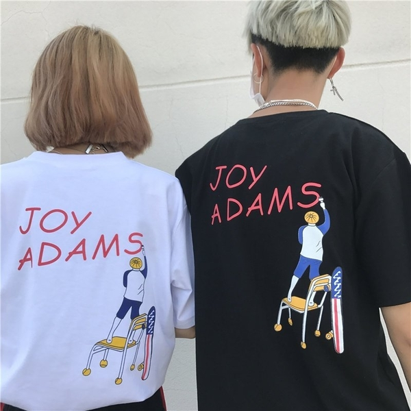 FINDSENSE MD 日系 潮 街頭 男女 情侶裝 寬鬆 五分袖 卡通字母印