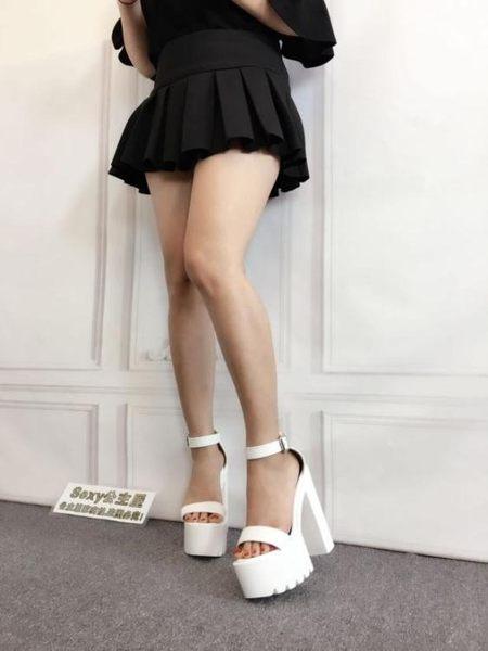 高跟鞋sexy公主屋2019新款夏粗跟15cm恨天高舞T臺夜店超高跟厚底女涼鞋可卡衣櫃