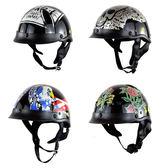 哈雷復古機車頭盔男女摩托車半覆式太子夏盔電動車踏板車瓢盔半盔