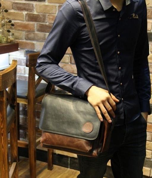 FINDSENSE Z1 韓國 時尚 潮 男 皮質 休閒 拼色 手提包 單肩包