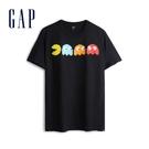 Gap男裝時尚潮流印花圓領短袖T恤567672-純黑色