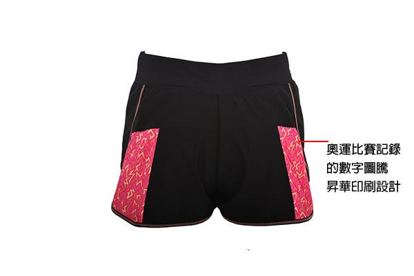 [陽光樂活]MIZUNO 美津濃 女路跑短褲 翁滋蔓代言 J2TB625696 黑X粉紅