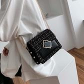 小方包秋季呢子包包女流行新款韓版百搭側背斜背時尚錬條小方包 特惠上市